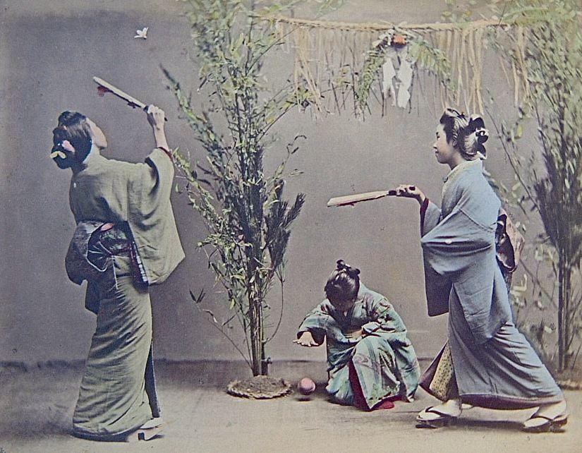 Año Nuevo. Hanetsuki. Kusakabe Kimbei