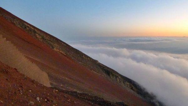 Vista de la ladera del Monte Fuji durante nuestra escalada