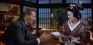 "Townsend (John Wayne) y Okichi en ""El Bárbaro y la Geisha"" (""The Barbarian and the Geisha"", 1958)"