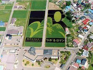 Vista aérea del pueblo de Inakadate (Japón)