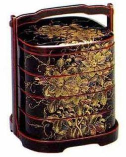 Caja lacada de año nuevo en Japón llamada 重箱 (jūbako)
