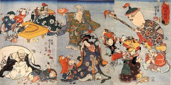 Pintura ukiyo-e de Utagawa sobre los siete dioses japoneses de la felicidad (七福神, shichifukujin)
