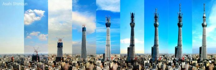 Fases de construcción de la Tokyo Sky Tree