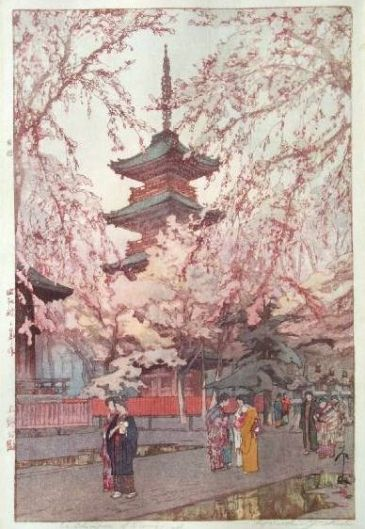 Pintura Ukiyo-e con la pagoda de Toji (Kioto) envuelta en árboles de sakura en flor