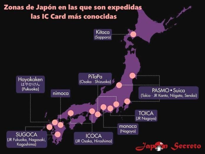 Zonas de emisión de las tarjetas monedero IC Card más populares de Japón: Suica, Pasmo, etc