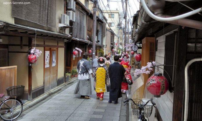 Distrito de geishas de Miyagawachō (宮川町) en Kioto