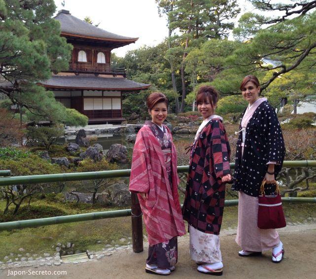 Cómo alquilar un kimono en Kioto para pasear por el pabellón de plata (Ginkakuji)