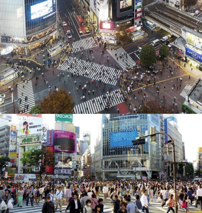 """Famoso cruce """"Scramble"""" del barrio de Shibuya (Tokio, Japón)"""