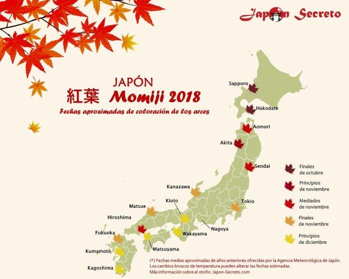 Viajar a Japón en otoño: predicciones de enrojecimiento de los árboles o momiji para 2018