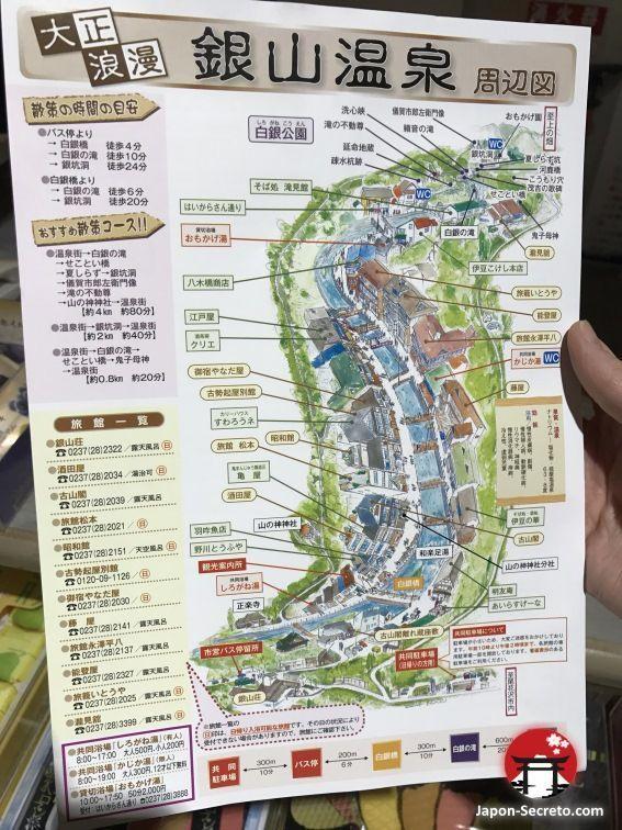 Mapa de Ginzan Onsen, pueblo balneario en la prefectura de Yamagata (Tohoku, Japón)