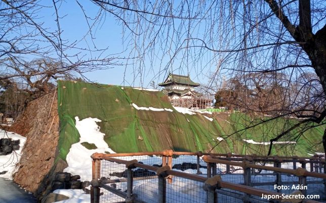 Obras en el castillo de Hirosaki (Aomori, Tohoku, Japón)