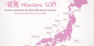 ¿Cuándo florecen los cerezos en Japón? Mapa de previsiones de florecimiento de los cerezos (sakura) en Japón con datos oficiales de la Asociación Meteorológica de Japón publicados el 20 de marzo de 2019. Más información en Japon-Secreto.com