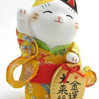 Manekineko en kimono Argent