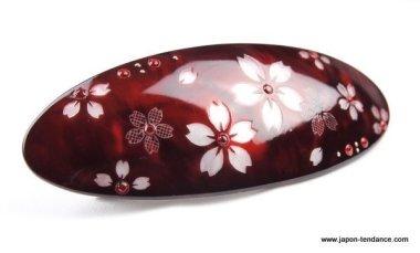 Barrette Oval Sakura (Fleur de cerisier)