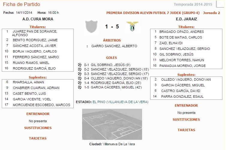 Primera División Alevin Fútbol 7 Judex - Grupo 4 - Jornada 2 - A.D Cura Mora vs E.D. Jaraiz