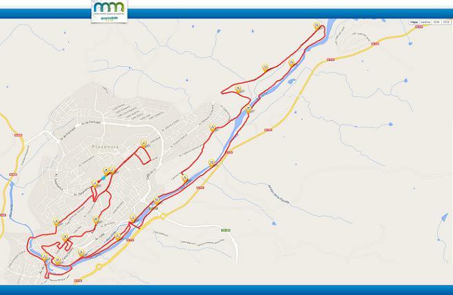Mapa del recorrido de la Media Maratón Ciudad de Plasencia