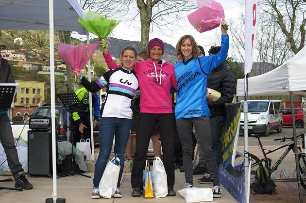 Podium de la prueba Femenina: 1ª Nadine Sapin, 2ª Julie Duvert y 3ª Eva Garrido Castro