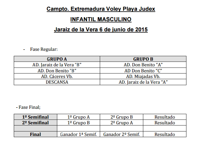 Campto. Extremadura Voley Playa Judex - Infantil masculino