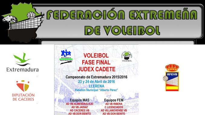 Fase Final de Voleibol Judex Cadete Masculino y Femenino se juega en Llerena