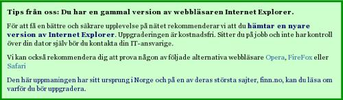 Kod för att varna IE6 användare