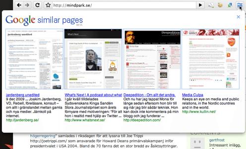 """Kort om: """"Google similar pages"""" – ännu ett tillägg"""