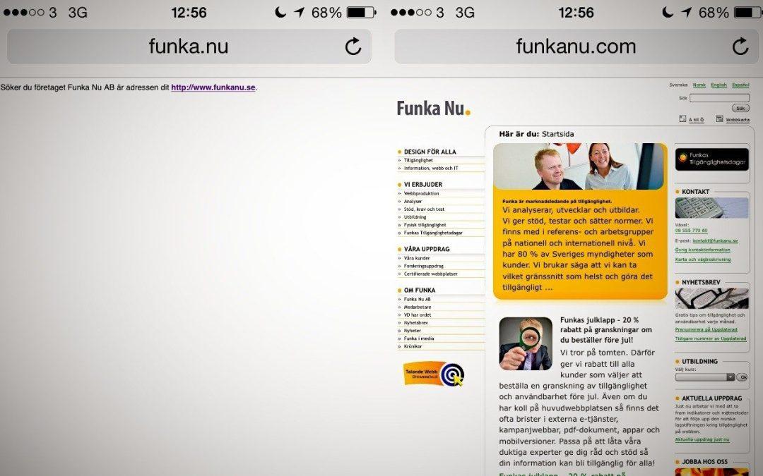 Skärmdumpar från Funka