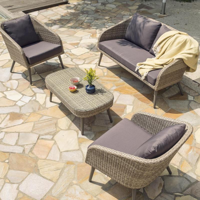 Salon De Jardin Aluminium Et Resine Tressee | Table De ...