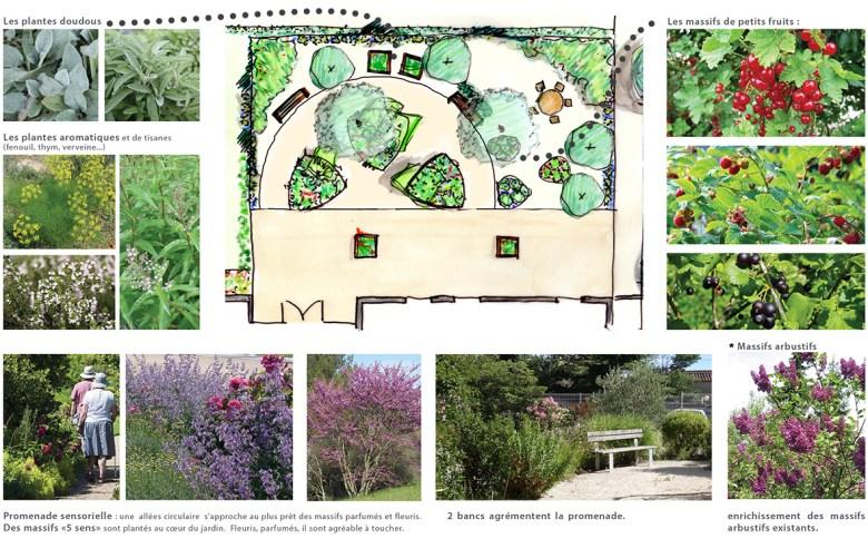 esquisse pour l'aménagement du jardin du cantou de la résidence les opalines, à Tournon