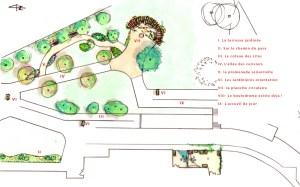 le plan du jardin sensoriel et thérapeutique de l'ehpad de la Pacaudière