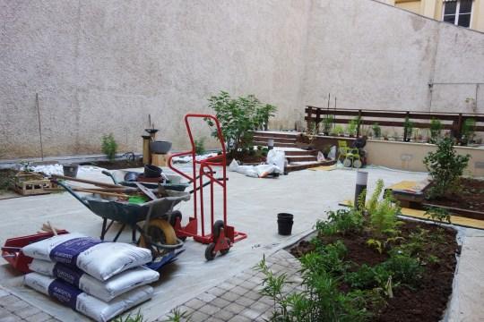 plantation des végétaux : vue d'ensemble du chantier
