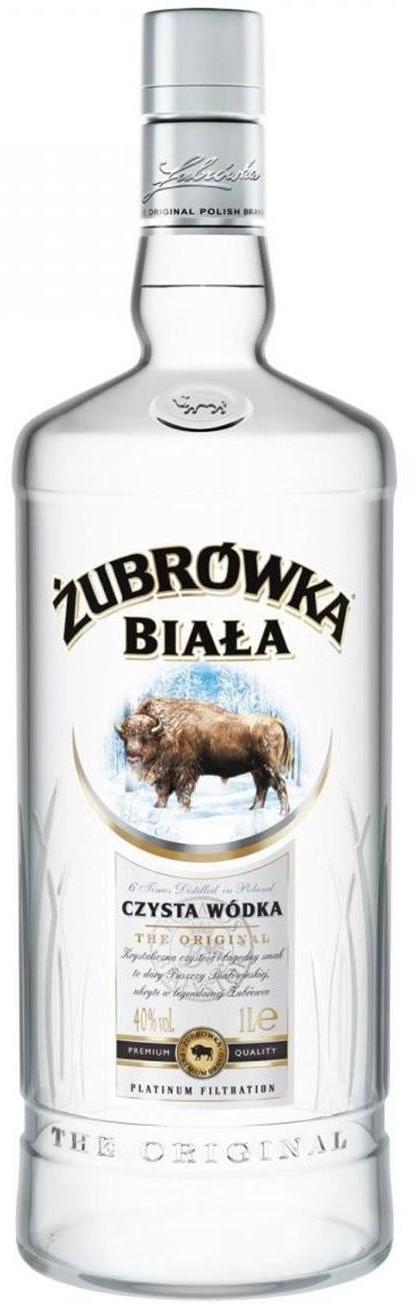Bouteille de vodka Żubrówka Biała, alcool blanc