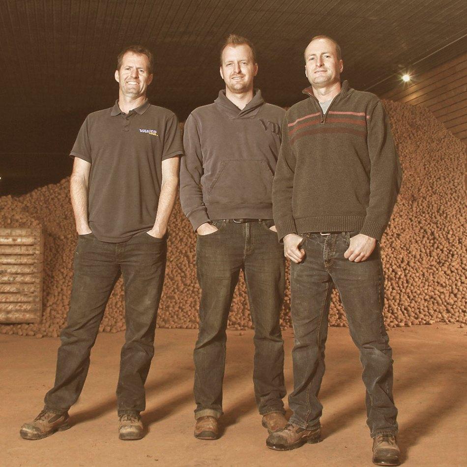 Trois frères Van Nieuwenhuyzen, propriétaires de VanCo Farms, devant une pile de pommes de terre.