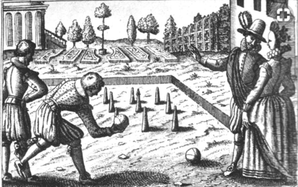 Illustration d'un jeu de boules sur un gazon dans le 16e siècle.