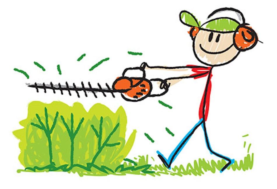 Illustration d'un homme taillant un arbuste.