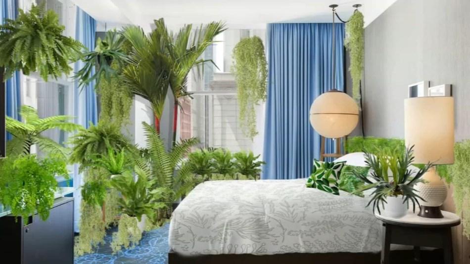 Chambre à coucher avec beaucoup de plantes.