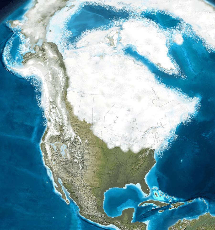 Carte d'Amérique du Nord montrant les limites de la dernière glaciation.