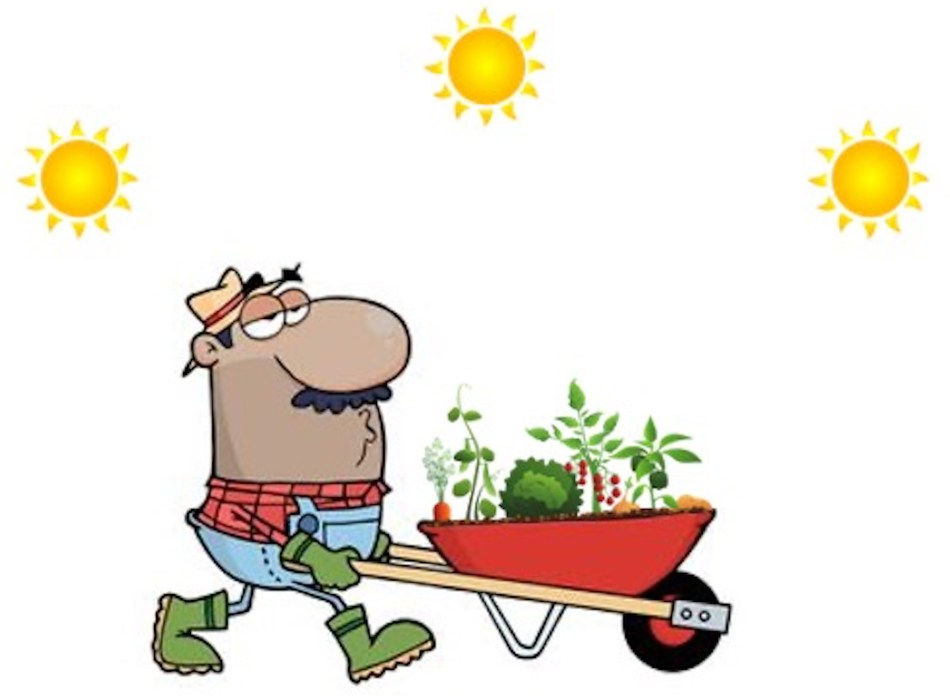 Jardiner avec un jardin en brouette, trois soleils pour suggérer le mouvement du soleil.