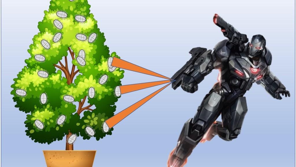 Robot guerrier détruisant les cochenilles avec des rayons de la mort.