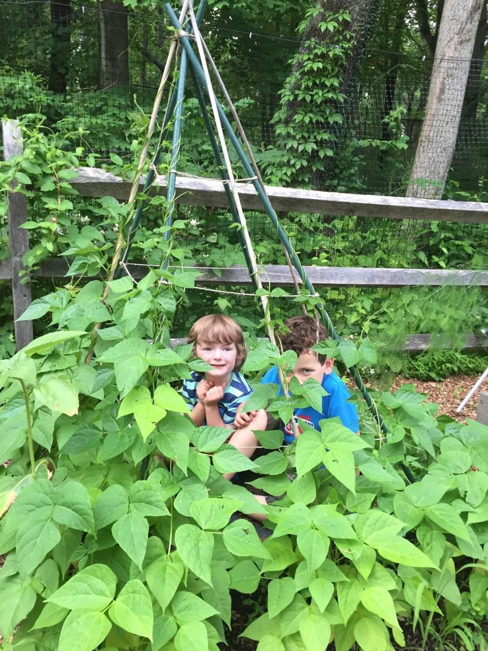 Tipi de haricots avec deux enfants à l'intérieur.