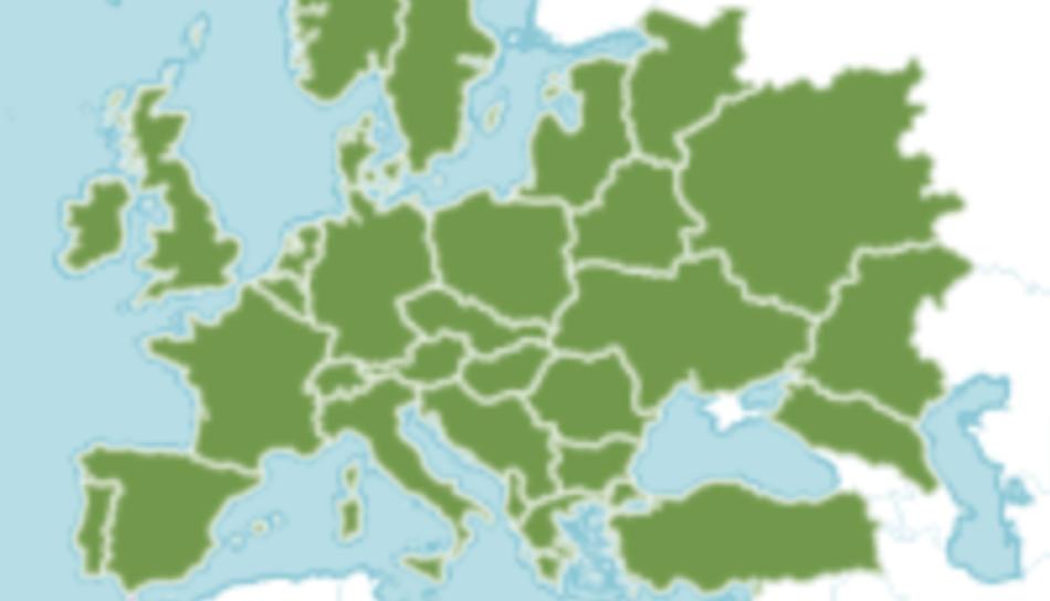 Carte montrant l'aire de répartition naturelle du lierre commun dans l'Europe jusqu'aux limites de l'Asie.