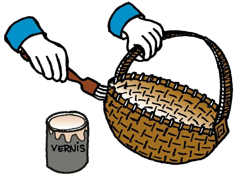 Application de vernis sur un panier en osier.