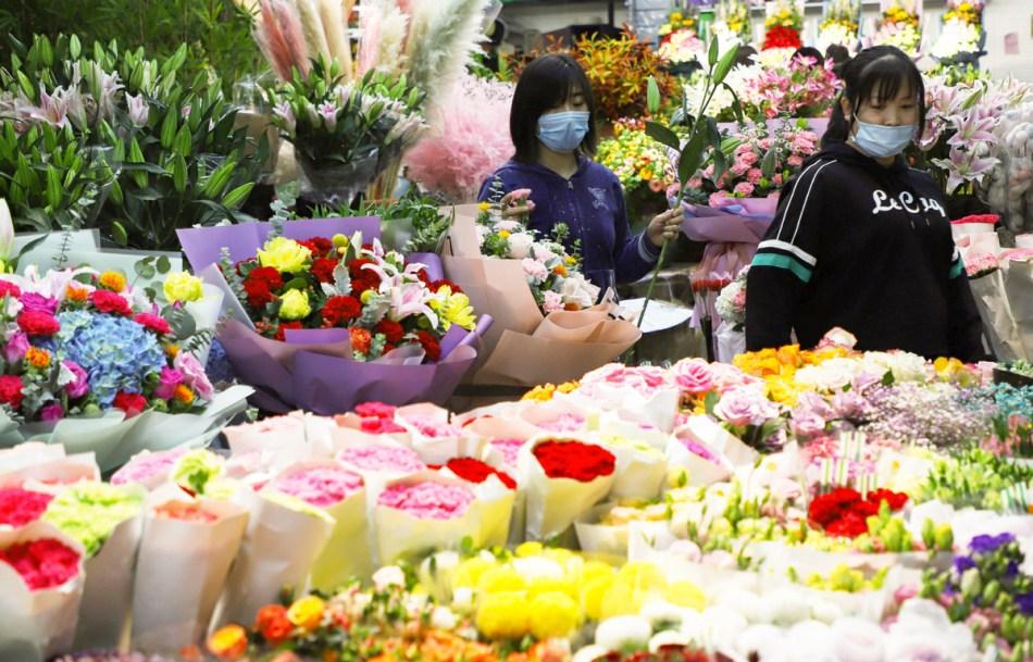 Marché de fleurs en Chine