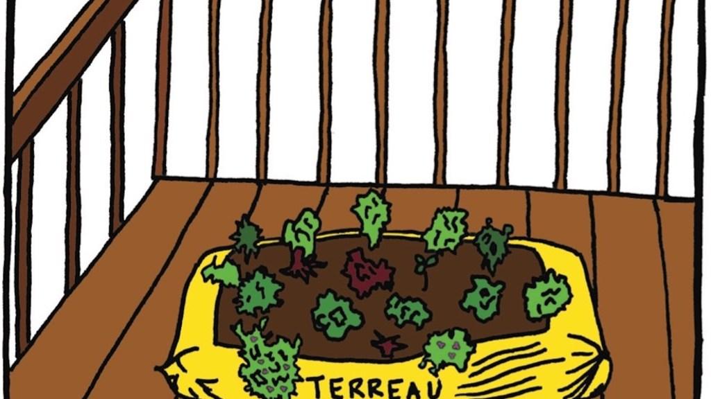 Légumes plantés dans un sac de terreau placé sur un balcon.
