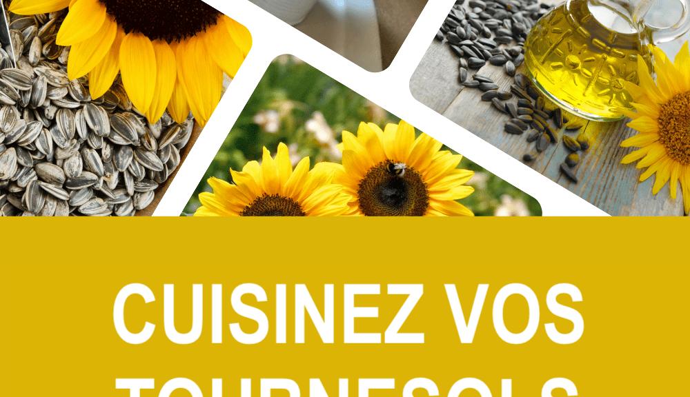Plusieurs photos de tournesols utilisés en cuisine.