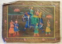 Pitchway peint à la main sur tissu représentatif de scène indienne, INDE - Dimension : 24 cm x 32.5 cm - Prix de vente : 15€.