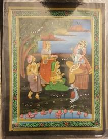 Pitchway peint à la main sur tissu représentatif de scène indienne, INDE - Dimension : 23 cm x 30.5 cm - Prix de vente : 15€.