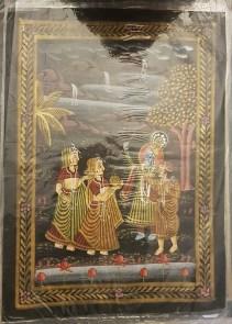 Pitchway peint à la main sur tissu représentatif de scène indienne, INDE - Dimension : 23.5 cm x 32 cm - Prix de vente : 15€.