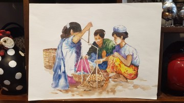 Aquarelle tibétaine, NÉPAL - Dimension : 28 cm de haut x 38 cm de large - Prix de vente : 55€.