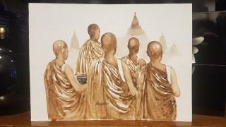 Aquarelle tibétaine, NÉPAL - Dimension : 19 cm de haut x 27 cm de large - Prix de vente : 20€.
