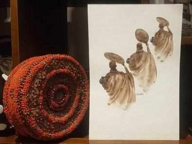 Aquarelle tibétaine, NÉPAL - Dimension : 27 cm de haut x 19 cm de large - Prix de vente : 20€.
